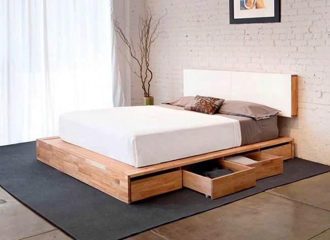 Double wooden bed with drawers