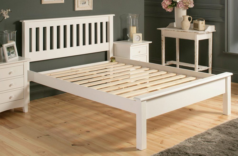 Simple White Wood Bed Frame