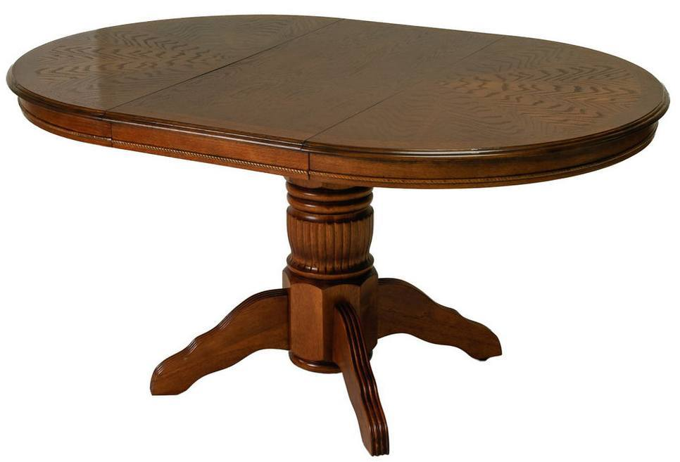 Dark Wood Oval Dining Table