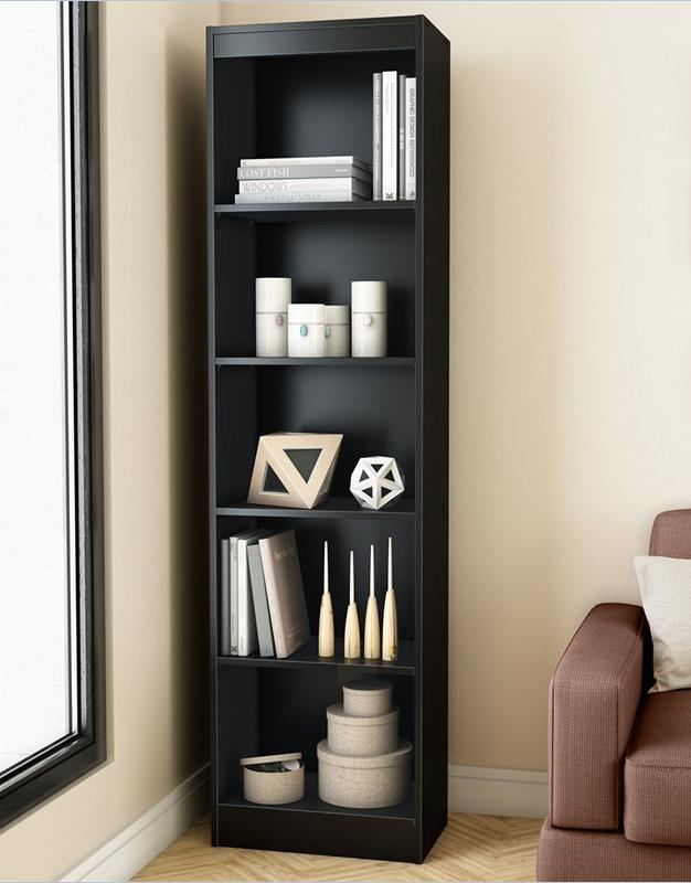 A comfortable black modern bookcase or wall shelves will fit harmoniously in a small room.