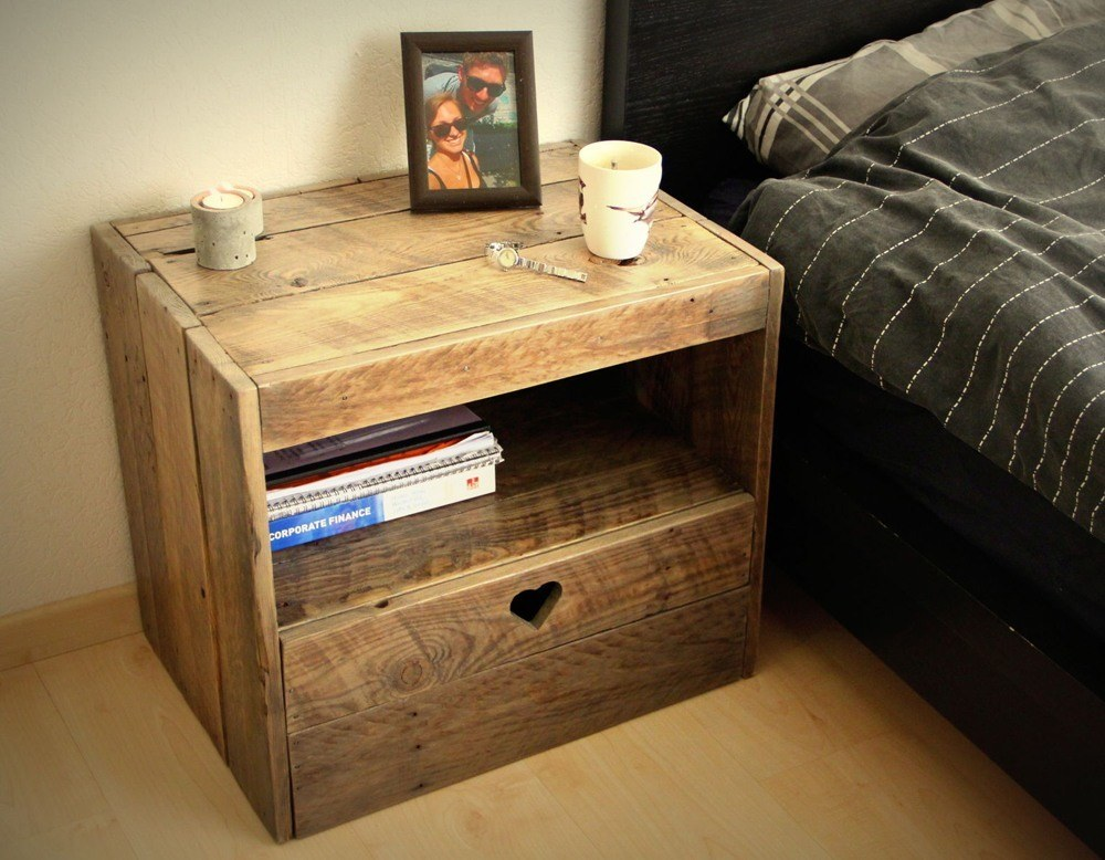 Reclaimed wood bedside table can look like a bedside chair or other usual thing.