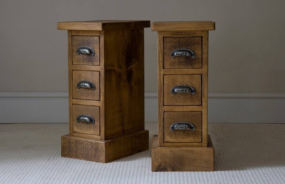 Rustic Wood Nightstand With Drawers