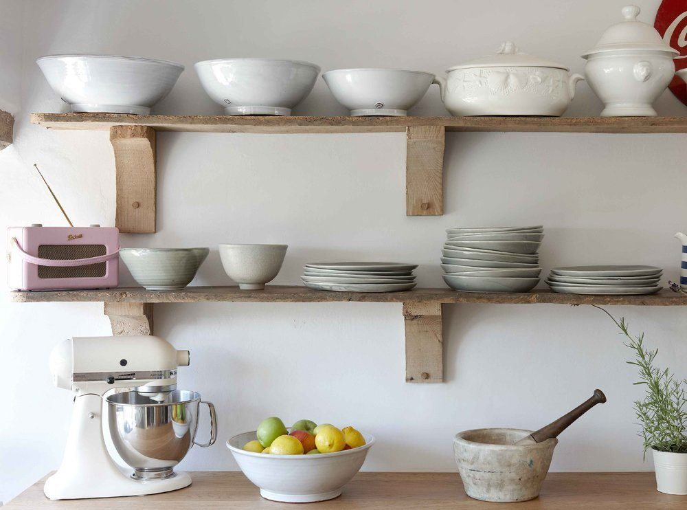 Wooden Shelves for Kitchen Wall