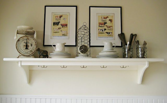 Rustic White Wall Shelf