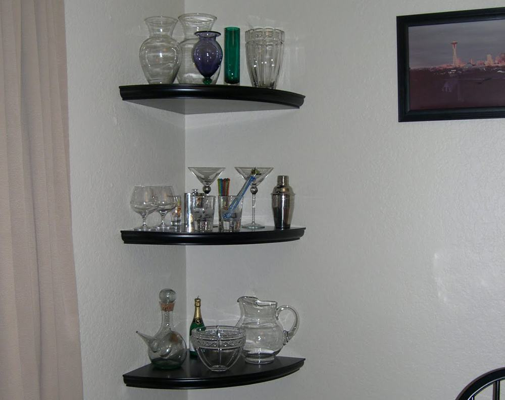 Dark wood corner shelf is an affordable and practical decision.