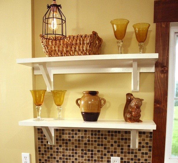 Beautiful functional floating shelf brackets can transform kitchen interior in modern design trends.