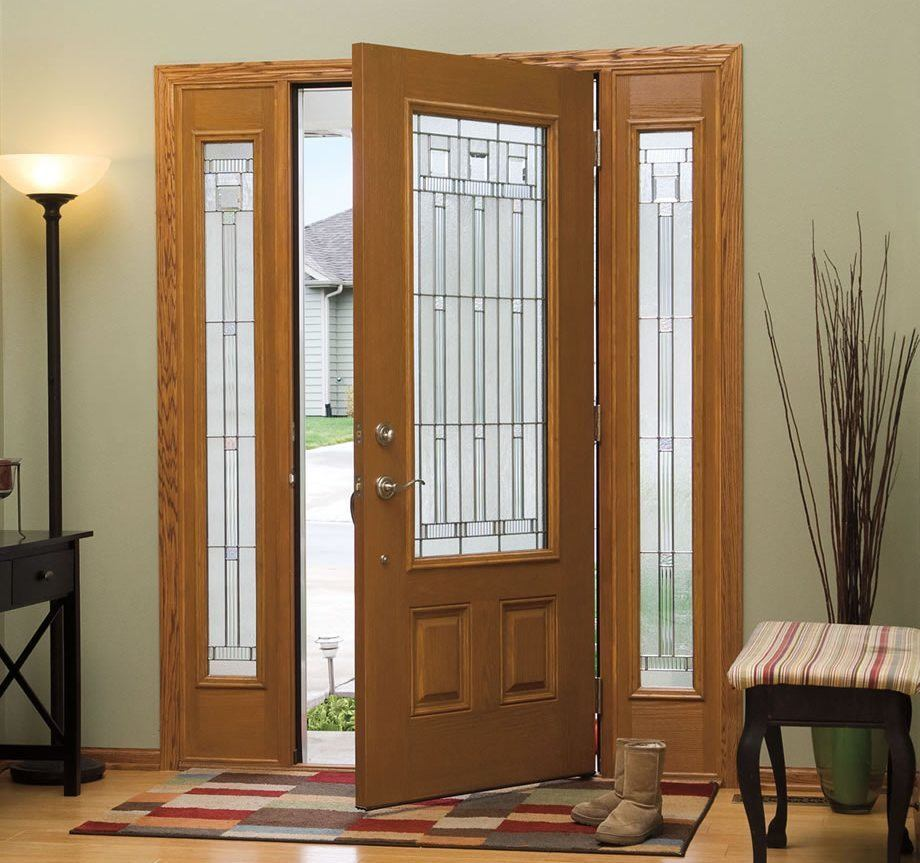 Wooden Door with Glass Panel