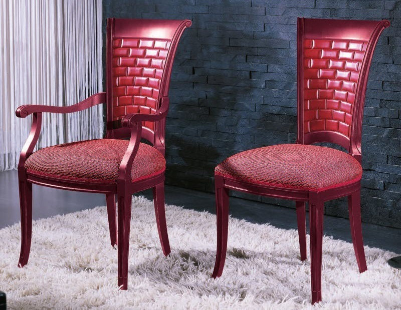 Red Wooden Dining Chairs