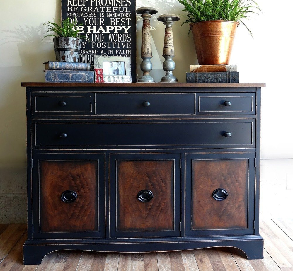 Black Painted Wood Dresser