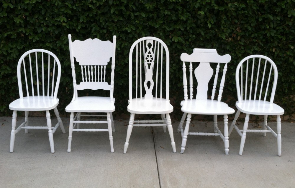 White Painted Wood Chairs