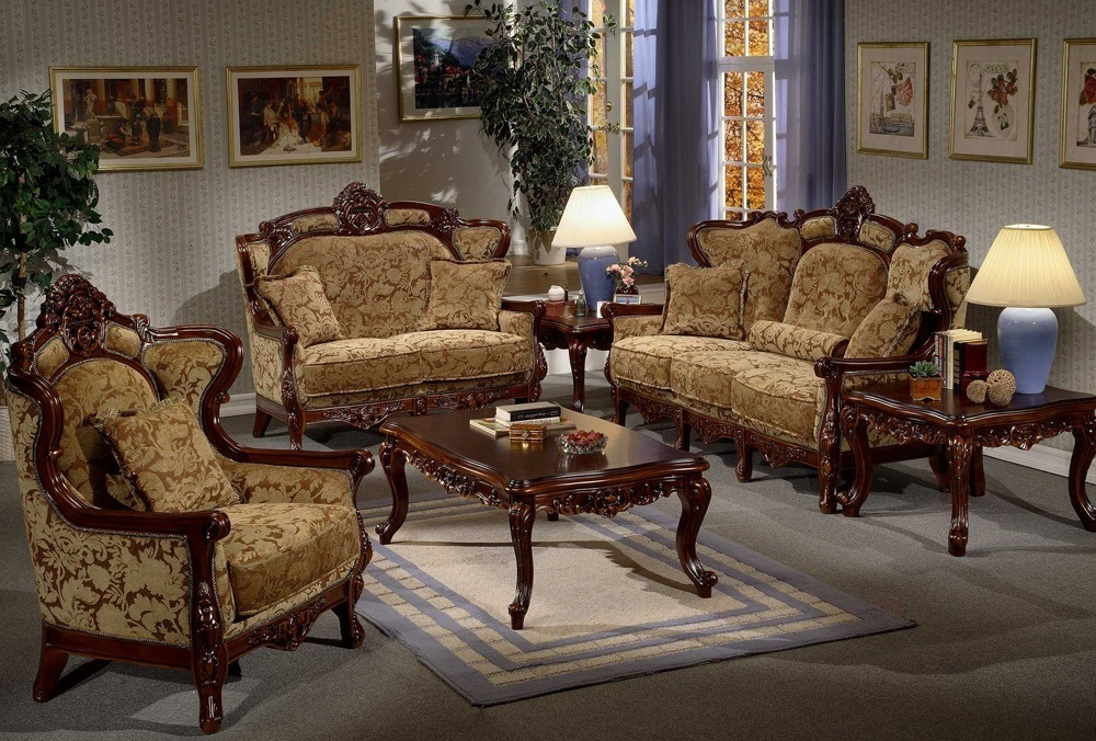 Italian Old Wooden Sofa Set