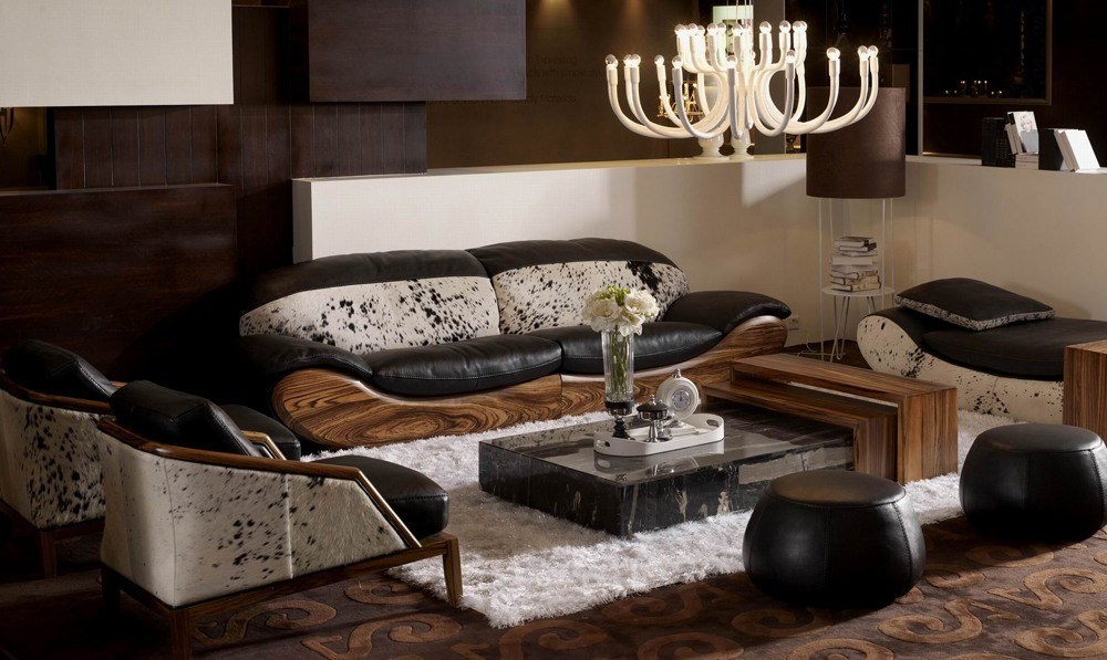 High end sectional sofa will suit to living room or bedroom for example like a solid pine nightstand.