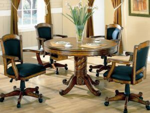 Round Oak Wood Table Set