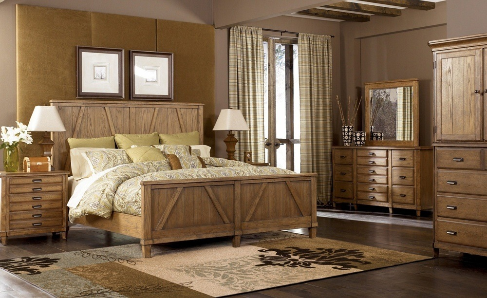 Rustic Wood Bed Set