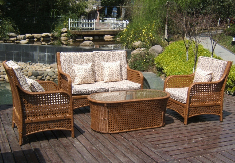 Wicker and Wood Outdoor Furniture