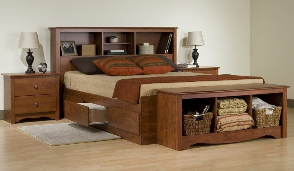 Natural Wood Full Size Bed