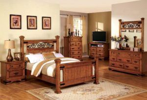 American Oak Finish Bedroom Set