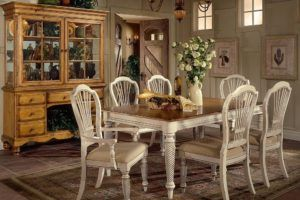 White Wood Rectangular Dining Table