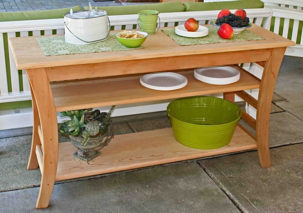 Contemporary Outdoor Cedar Buffet Table