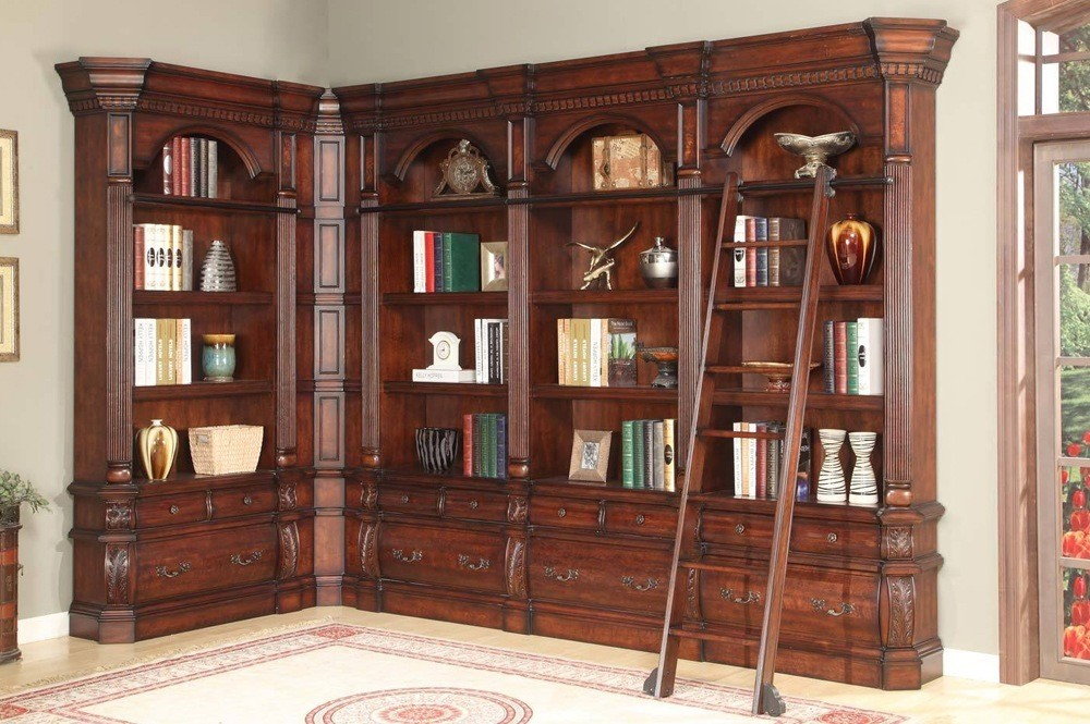 Corner Library Bookcase Set