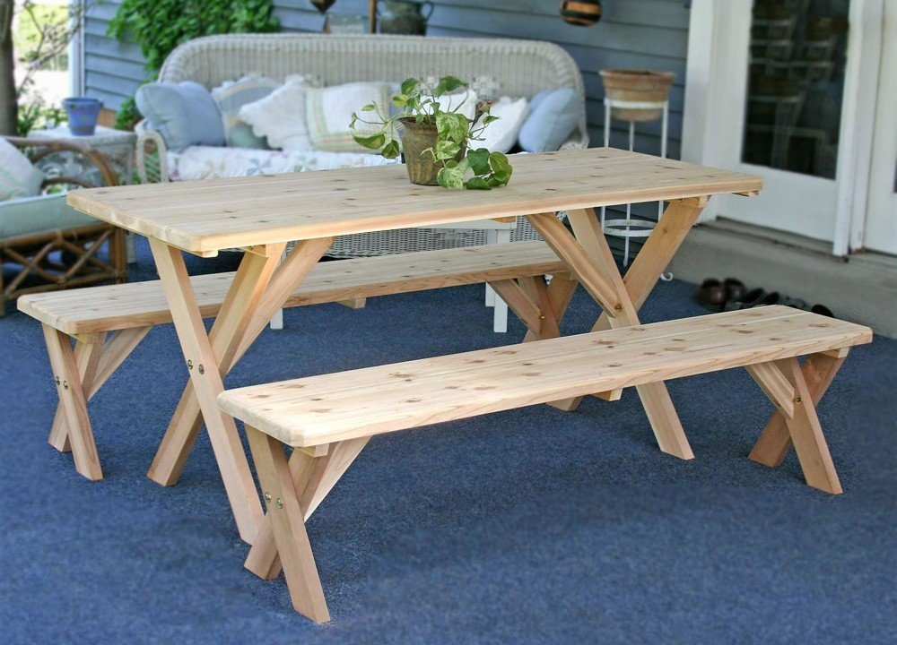 Outdoor Cedar Dining Table Set