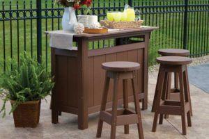 Brown Wooden Outdoor Bar Stools