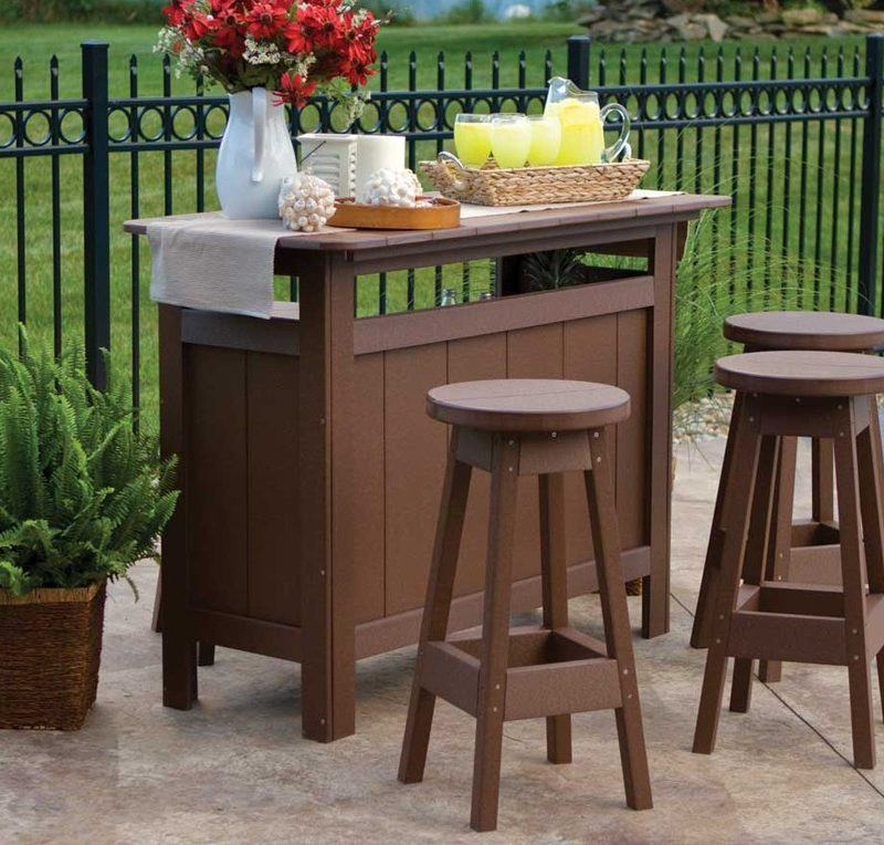 Brown Wooden Outdoor Bar Stools
