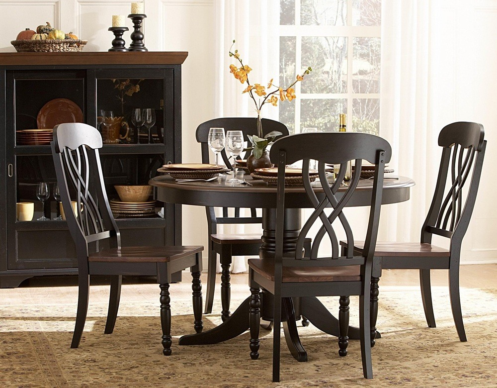 Dark Wood Round Dining Table Set