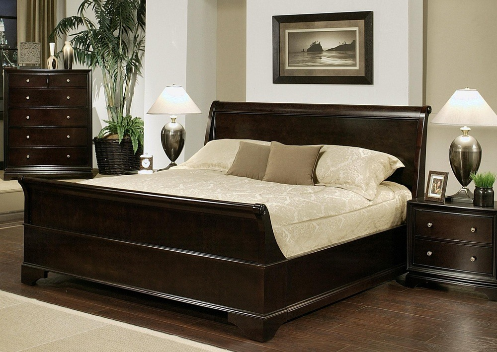Oak Wood King Size Bed