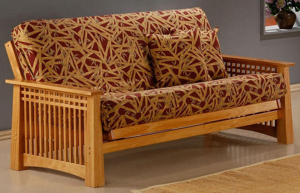 Two person futon couch is sold in all sizes and uses.