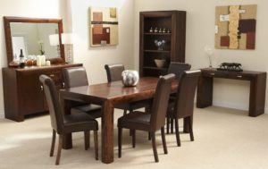 Dining Room With Dark Brown Walnut Furniture