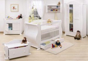 Modern White Crib Set