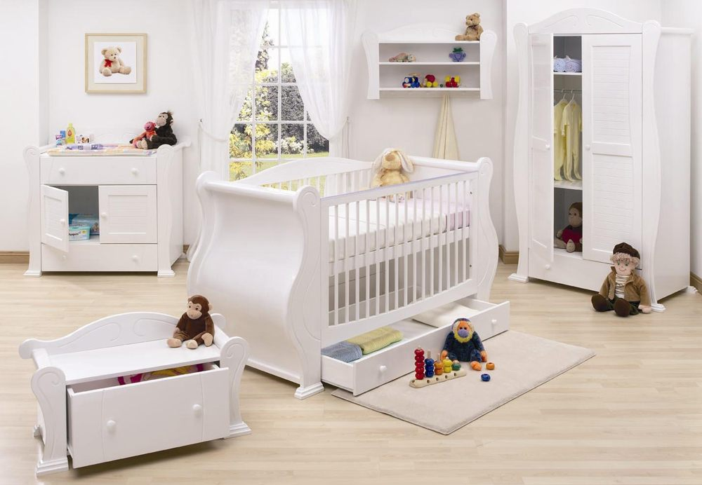 A standard modern white crib with the full size is the better one, especially with basic simple lines.