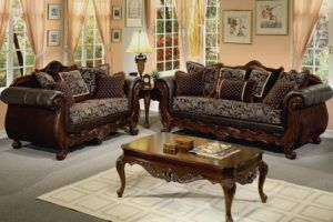 Rustic Wood Living Room Sofa Set