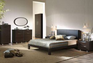 Solid Brown Color Bedroom Furniture