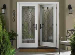 White Double Exterior Wood Doors