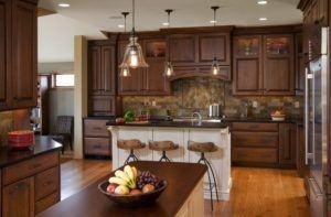 Brown Varnished Wood Kitchen Cabinets
