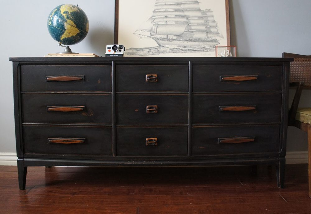 Black and Natural Wood Dresser