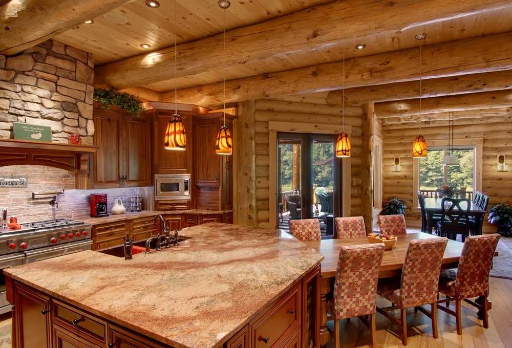 Modern Log Cabin Home Kitchen Interior