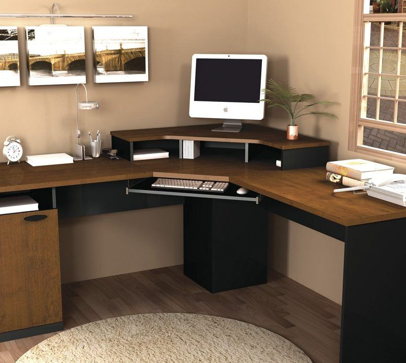 This cheap solid wood corner desk would fit easily in small spaces and suit different design's decisions.