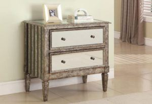 Antique Silver Wood Nightstand