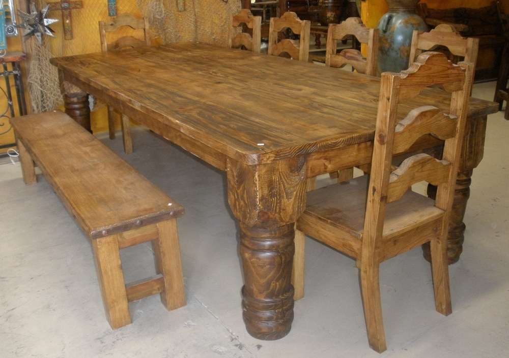Farmhouse Dining Table With Benches And Chairs