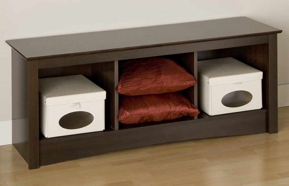 If you want to make your bench more functional, wood narrow storage bench is what you need.