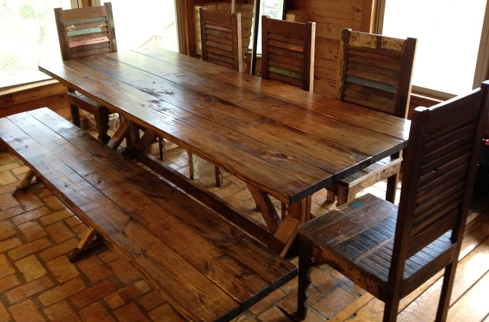 Natural Wood Farm Table