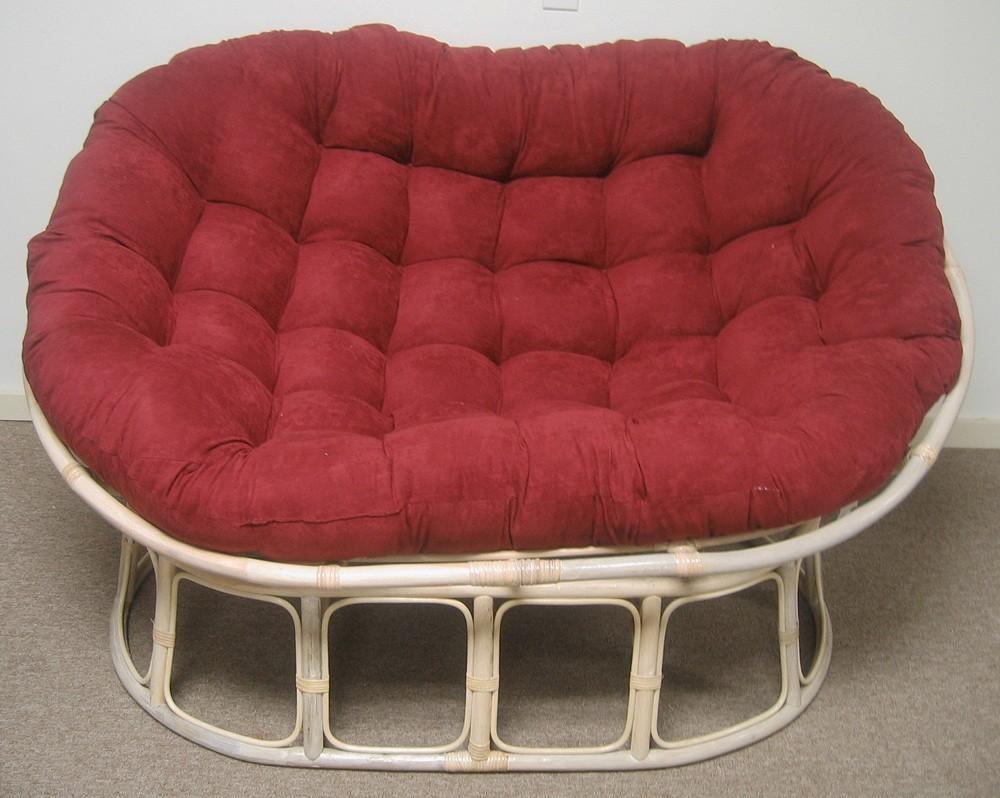 Rattan Papasan White Chair with Red Cushion