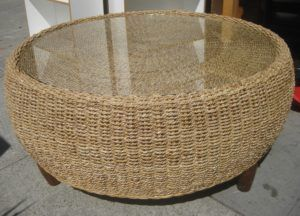 Round Wicker Drum Glass Coffee Table