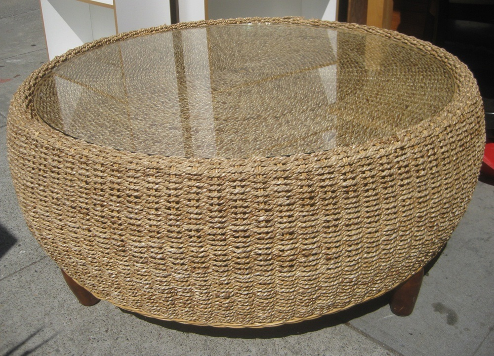 Round Wicker Coffee Table With Glass Top