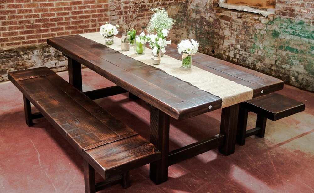 Rustic Farmhouse Dining Table With Bench