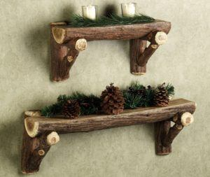 Rustic Wood Wall Shelves