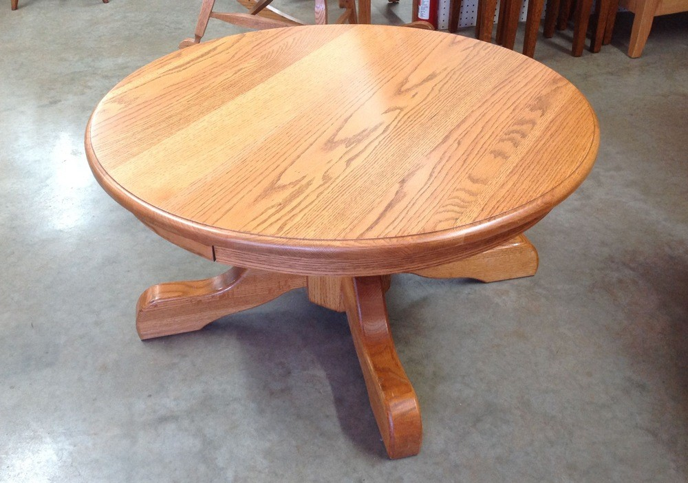 Round Wood Pedestal Coffee Table